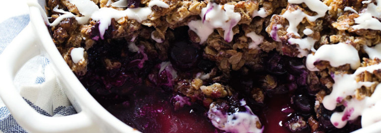 SIMPLE OAT PECAN BLUEBERRY CRISP