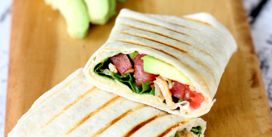 CHICKEN TACO GRILLED WRAP WITH HUMMUS